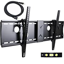 """VideoSecu Tilt TV Wall Mount Bracket for Most 37""""- 70"""" LCD LED Plasma TV Flat Screen with VESA 200x200 to 700x400mm, Sturdy Steel Wall Plate Load Capacity 165lbs, 15 Degree Tilt up Free 7ft HDMI Cable and Bubble Level 3KR"""