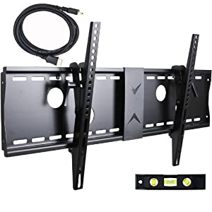 "VideoSecu Tilt TV Wall Mount Bracket for Most 37""- 70"" LCD LED Plasma TV Flat Screen with VESA 200x200 to 700x400mm, Sturdy Steel Wall Plate Load Capacity 165lbs, 15 Degree Tilt up Free 7ft HDMI Cable and Bubble Level 3KR"