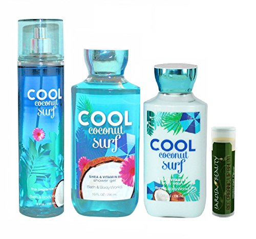 Bath & Body Works Cool Coconut Surf 8 oz Body Mist, 8 oz. Body Lotion & 10 oz. Shower Gel Gift Set With A Jarosa Bee Organic Natural Peppermint Lip Balm (Cool Lotion compare prices)