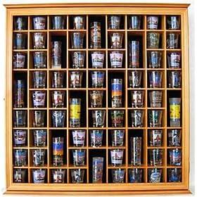 56 Shot Glass Display Case Holder Cabinet  Rack Wall Shadow Box SC56-OA