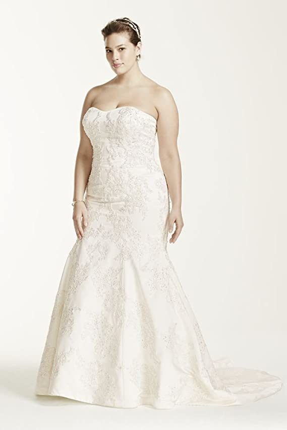SAMPLE Strapless Satin Trumpet Wedding Dress with Lace Style AI14030103
