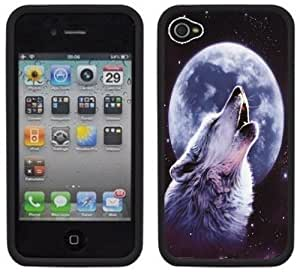 Howling Wolf Moon Handmade iPhone 4 4S Black Hard Plastic Case: Cell