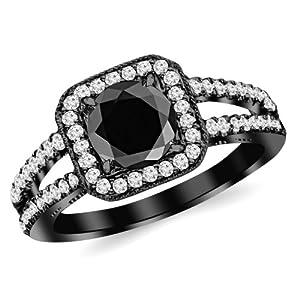 1.47 Carat 14K Black Gold Designer Split Shank Halo Style With Milgrain Diamond Engagement Ring with a 1 Carat Black Diamond Center (Heirloom Quality)