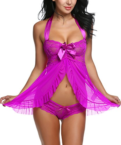Avidlove Women Sexy Nightwear Halter Lace Strap Chemise Babydoll Lingerie Set Purple M
