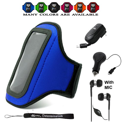 Complete On The Go Smart Kit: Blue Comfy Sport Band / Workout Armband Adjustable Neoprene Velcro Strap For Sony Ericsson Spiro / Xperia Neo V / Xperia Play / Xperia Ray / X8 / X10 / X10 Mini Pro / Vivaz / Text Pro / Mix Walkman / Xperia Play + Includes A