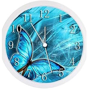 glow in the dark wall clock blue butterfly