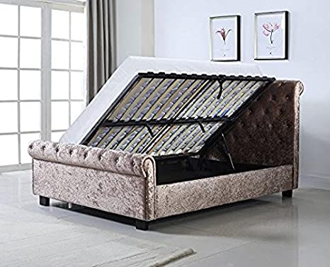 Whitford 4ft6' Ottoman Bed Frame / Mink Crushed Velvet Double Bed / Contemporary Style