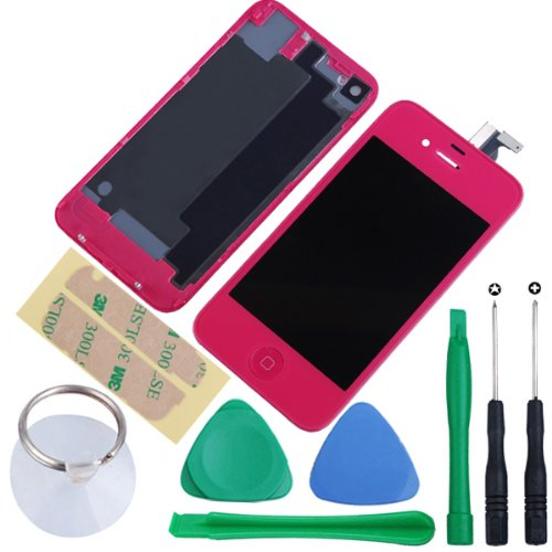 Generic Touch Screen Digitizer Glass With Flex Ribbon Cable & Lcd Display Assembly + Back Battery Cover + Home Button For Iphone 4S With Free Repair Tools Kits (Hot Pink)