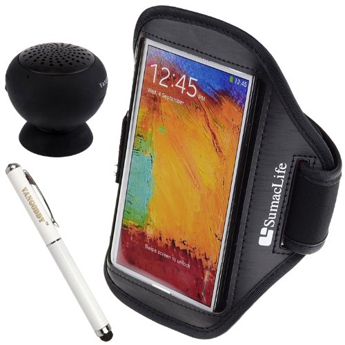 Sumaclife Pu Leather Brushed Armband For Alcatel One Touch Fierce / Evolve / Idol S / Idol Alpha Smartphone + Laser Stylus Pen + Black Vangoddy Bluetooth Speaker (Black)