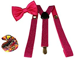 Brand New Awesom Hot Pink Bowtie & Pink Glitter Suspender Sets