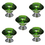 5 Pcs 30mm Crystal Glass Cupboard Wardrobe Cabinet Door Drawer Kitchen Knobs Handle