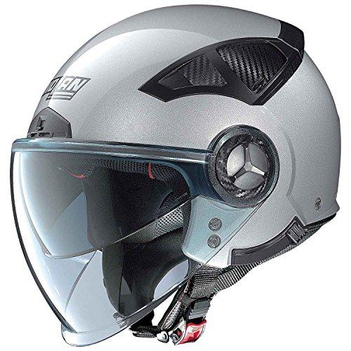 Nolan N33Evo Classic Jet Motorcycle Helmet Lexan N-Com–Platinum Silver