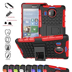 Microsoft Lumia 950 XL Case,Mama Mouth Shockproof Heavy Duty Combo Hybrid Rugged Dual Layer Grip Cover with Kickstand For Microsoft Lumia 950XL (With 4 in 1 Free Gift Packaged),Red