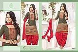 Ecoco Fashion Grey and Red Patiyala Suit