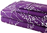 Spirit Linen Foliage Collection Printed Luxurious Microfiber Sheet Set, Queen, Purple/Ivory