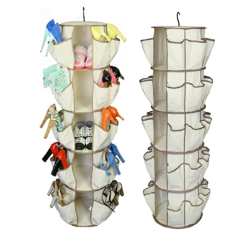 Home-Cube® Fabric 5 Shelf & 40 Pockets Shoe Organizer Closet Hanging Cloths Holder Bag Box Closet