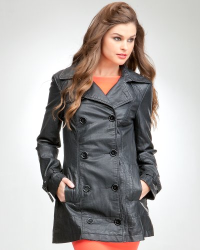 Bebe Leatherette Trench Coat Black Size Small