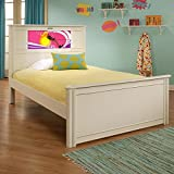 LightHeaded Beds Riviera Full Bed with back-lit LED Headboard Imagery - Satin White with Silver Trim