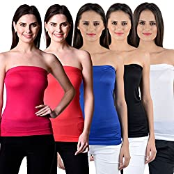 NumBrave Women's Pink, Red, Blue, Black, White Tube Top (Combo of 5)