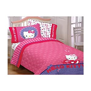 Amazon 4pc Hello Kitty Poodle Bedding Set Sanrio