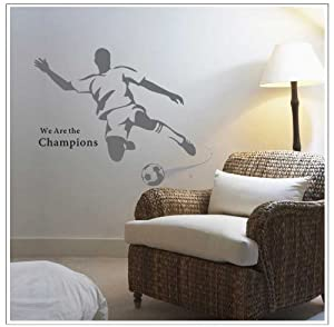 OneHouse We Are The Champions Quotation A Man Playing Football for Men or Boys' Bedroom Wall Stickers Decor by OneHouse