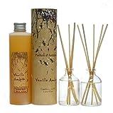 Provence et Nature: Vanille Amber Raumbedufter 2 x 50ml Glasflaschen + Nachfüllflasche 200ml (Duftset)