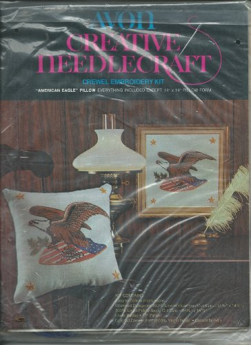 Vintage Avon Creative NeedleCraft Crewel Embroidery Kit American Eagle Pillow 14
