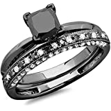 1.50 Carat (ctw) Black Rhodium Plated 14K White Gold Black & White Diamond Bridal Ring Band Set 1 1/2 CT