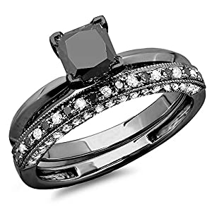 1.50 Carat (ctw) Black Rhodium Plated 10K White Gold Black & White Diamond Ring Set 1 1/2 CT (Size 6)