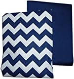 Baby Doll Chevron and Solid Crib Sheets, Navy