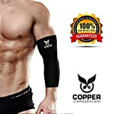 Copper Compression Gear PREMIUM Fit Recovery Elbow Sleeve - 100% GUARANTEED - #1 Elbow Compression Sleeve / Support Brace / Wrap For Workouts, Tennis Elbow, Golfers Elbow, And More! (Medium)