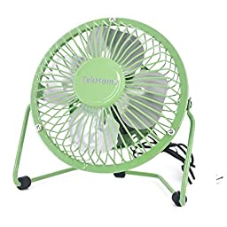 TekHome Mini 5-inch USB Table Personal Fan, Strong Wind w/ Quiet Operation, 360 Rotation Flexible Placement, Ultralight Metal Design, 3.3ft USB Cable Powered, Make You Cool As A Cucumber.(Green)