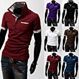 Men's Polo T-Shirts Casual Slim Fit Stylish Short-Sleeve Shirt Cotton T-shirt