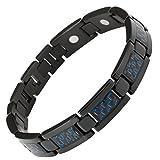 Willis Judd New Mens Black Titanium Magnetic Bracelet with Blue Carbon Fiber Insets Free Link Removal Tool