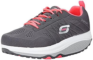 Galerry pink and white womens skechers shape ups