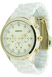 Women's Geneva White Acrylic Chrono Dial Boyfriend Watch Gold Case CZ Markers
