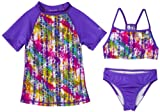Speedo Girls 7-16 Snake Attack With Rashguard 3 Piece Swimsuit Set