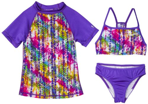 Speedo Girls 7-16 Snake Attack With Rashguard 3 Piece Swimsuit Set, Multi, 7