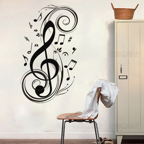"""Colorfulhall 23.6"""" X 47.2"""" Black Removable Wall Sticker Large Music Notes Wall Decals Mural Diy Vinyl Wall Sticker Wall Art Room Home. front-1017942"""