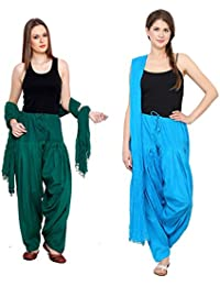 Mango People Products Patiala Salwars And Dupatta Set Combo(Free Size,Green & Sky Blue By Mango People Products)
