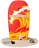 Boogie Board 33 Fiberclad Bodyboard - Durable Fiberclad Deck with Phuzion Core and Leash - Choose Your Graphics (Tidal Energy, Red)