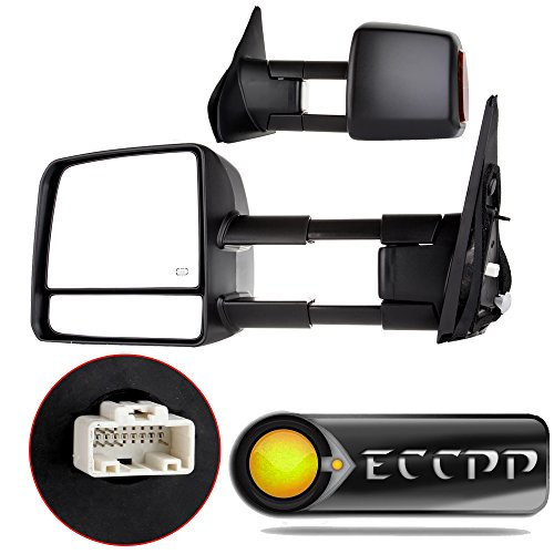ECCPP® Passenger Left Driver Right Tow Mirrors Pair Set Side LED Signal Power Heated Side View Mirrors Manual Telescoping Black Towing Mirrors for 2007-2016 Toyota Tundra (Pair Set) (A Pair) (Manual Toyota Tundra compare prices)