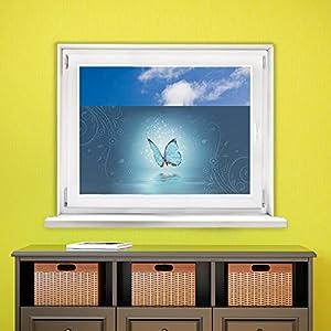 graz design 991087 80x57 sichtschutz fensterfolie farbige folie f r wohnzimmer schmetterling. Black Bedroom Furniture Sets. Home Design Ideas