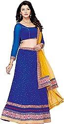 Shyam Fab Women's Velvet Lehenga Choli (RU1004, Blue)