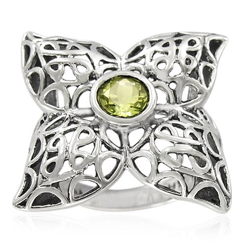 Sterling Silver Celtic Round Lemon Quartz Ring, Size 7