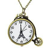 [モノジー] MONOZY ネックレス 時計 【選べるデザイン】アンティーク 調 ペンダント ウォッチ 収納袋 おしゃれ ネックレス時計 レトロ 懐中時計 (C:自転車)