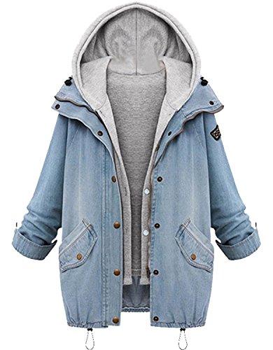 Minetom BYD da Donna Hoodie Cappotto con Cappuccio 2 in 1 Giacca Denim Jacket Giacche Jeans Cappotti Capispalla Parka