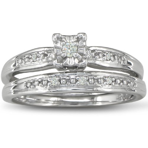 Diamond Bridal Engagement Ring Set Crafted in Sterling Silver