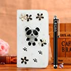 Locaa(TM) Apple IPod touch 5 Itouch5 3D Bling Case + Phone stylus + Anti-dust ear plug Deluxe Luxury Crystal Pearl Diamond Rhinestone eye-catching Beautiful Leather Retro Support bumper Cover Card Holder Wallet Cases - [General series] silver leopard