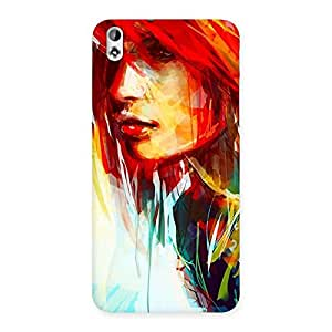 Cute Art Girl Beauty Multicolor Back Case Cover for HTC Desire 816